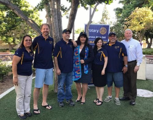 Zeb Welborn, Matt Ballantyne, Raghada Khoury District 5300 Governor, Raghada Khoury with local Rotary Club Presidents at Chino Concerts in the Park